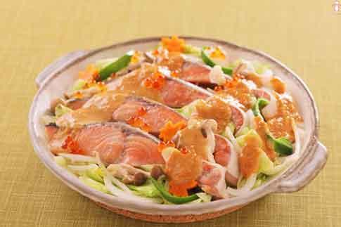 秋鮭のみそマヨちゃんちゃん焼き風
