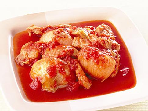 新玉ねぎと豚肉のトマト煮