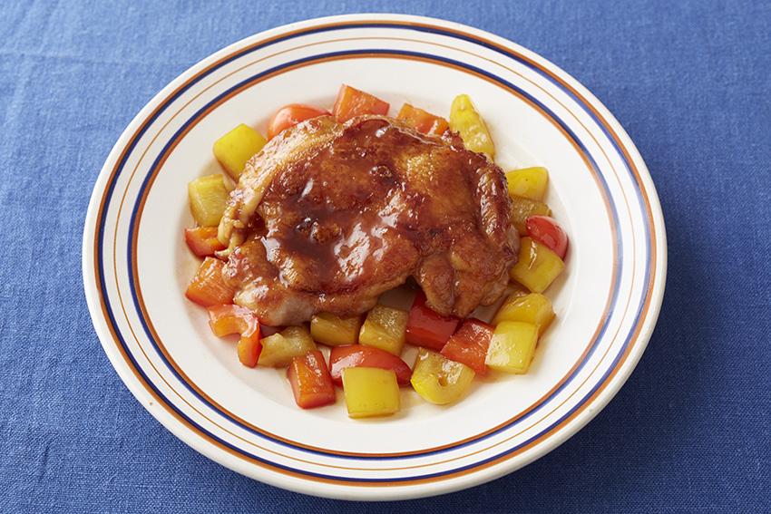 鶏もも肉の黒酢照り焼き