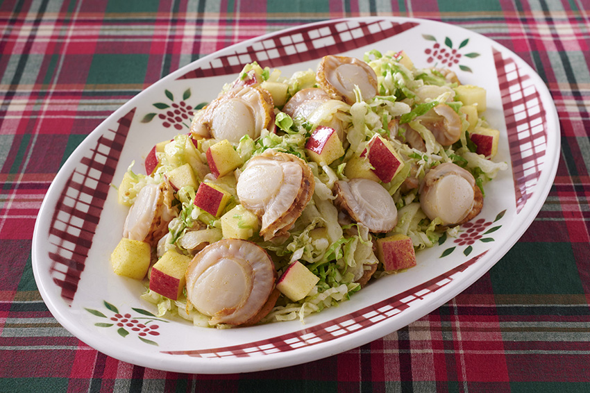 ベビーほたてと白菜とりんごのサラダ