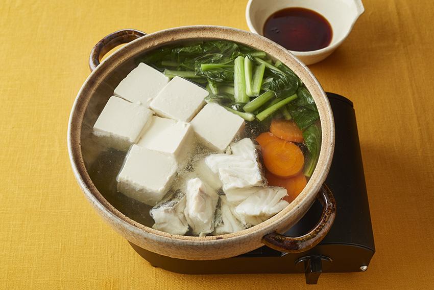 たらと豆腐の昆布だし鍋