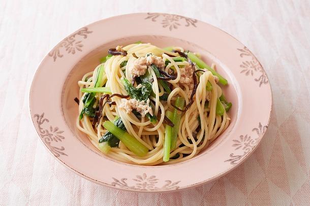 25_ツナと小松菜の昆布スパゲッティ